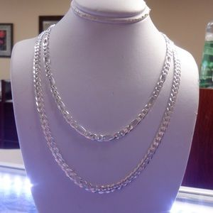 Solid 925 stamped Figaro and Cuban chains 26'inch